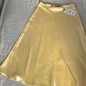 Zara Yellow Satin Midi Skirt NWT